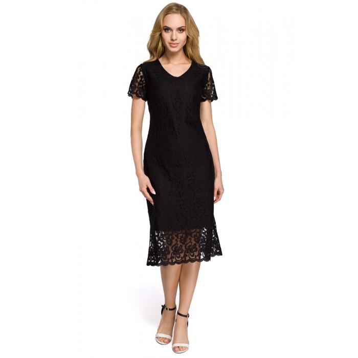 6dc4c8bac70e Elegantné čierne šaty s čipkovými rukávmi II MOE275