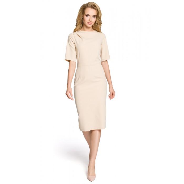 fe45e37a6023 Klasické béžové púzdrové šaty s 3 4 rukávom MOE276