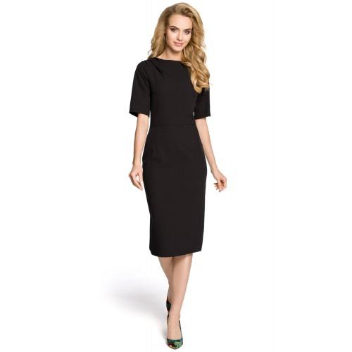 Klasické čierne púzdrové šaty s 3/4 rukávom MOE276