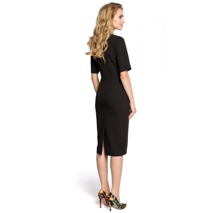 52872f0e46c9 Klasické čierne púzdrové šaty s 3 4 rukávom MOE276
