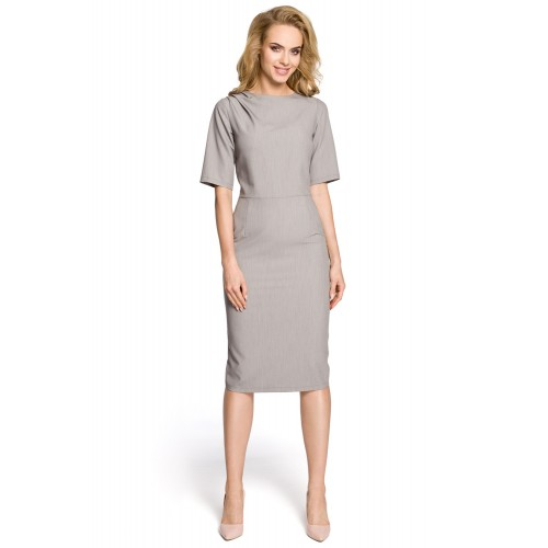 Klasické sivé púzdrové šaty s 3/4 rukávom MOE276