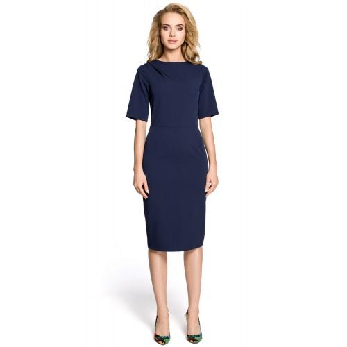 Klasické tmavomodré púzdrové šaty s 3/4 rukávom MOE276