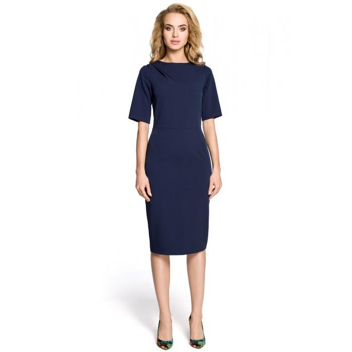 9743226a8b32 Klasické tmavomodré púzdrové šaty s 3 4 rukávom MOE276
