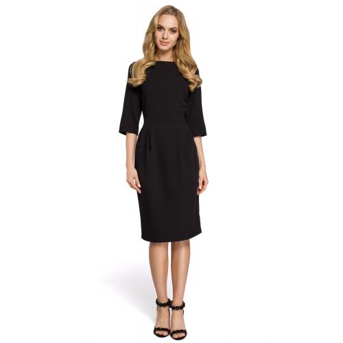 Klasické čierne púzdrové šaty so 7/8 rukávom MOE277