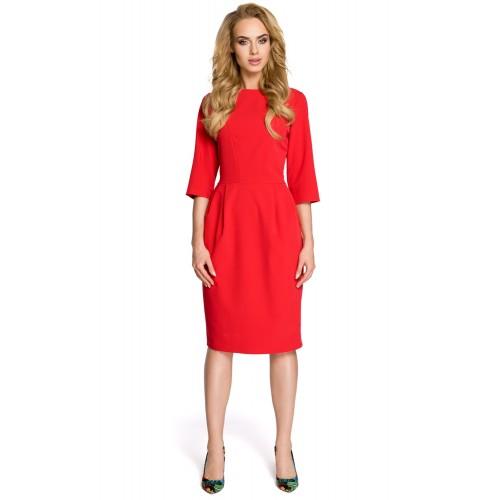 Klasické červené púzdrové šaty so 7/8 rukávom MOE277