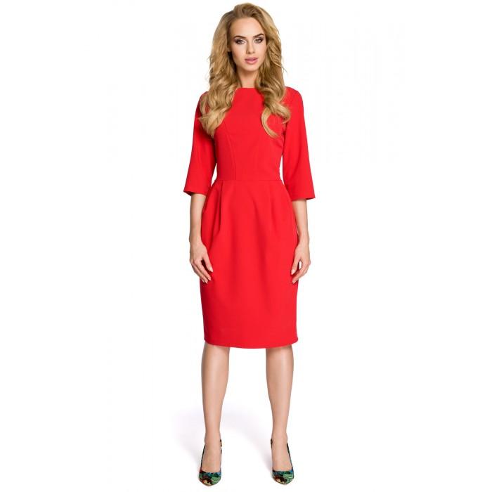 4dae7a042df8 Klasické červené púzdrové šaty so 7 8 rukávom MOE277 L