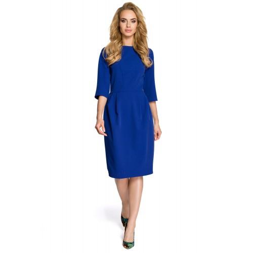 Klasické kráľovsky modré púzdrové šaty so 7/8 rukávom MOE277