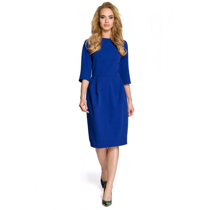 Klasické kráľovsky modré púzdrové šaty so 7 8 rukávom MOE277 f2d461df16b