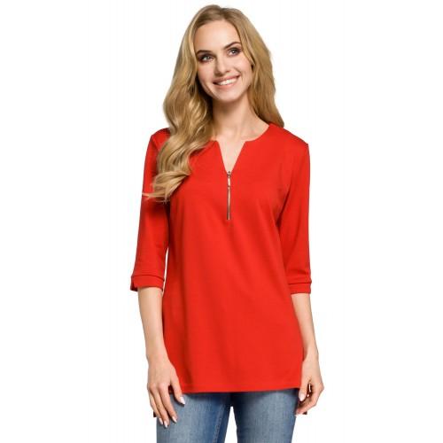 Červená bavlnená tunika so zipsom MOE278