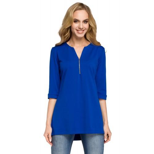 Kráľovsky modrá bavlnená tunika so zipsom MOE278