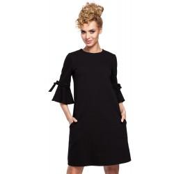 Čierne MINI šaty so zvonovými rukávmi v Alínii MOE286
