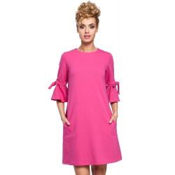 Fuchsiové MINI šaty so zvonovými rukávmi v Alínii MOE286