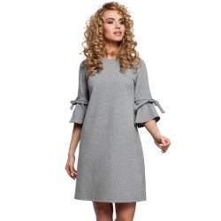 Šedé MINI šaty so zvonovými rukávmi v Alínii MOE286