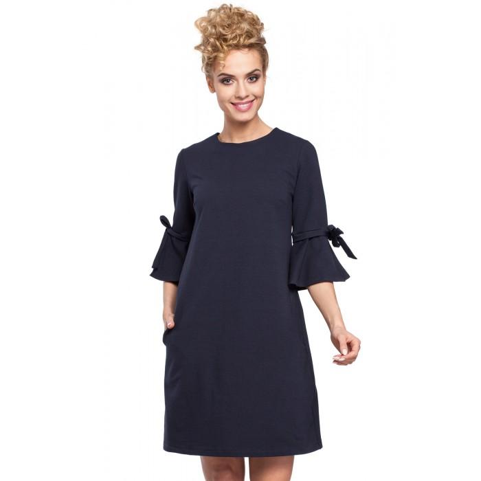 272a28655d0a Tmavomodré MINI šaty so zvonovými rukávmi v Alínii MOE286