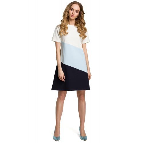 81e937591c8b Modro-čierne bavlnené šaty s krátkym rukávom v Alínii MOE373