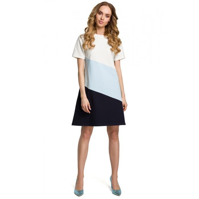 621d8937b066 Modro-čierne bavlnené šaty s krátkym rukávom v Alínii MOE373
