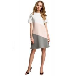 Marhuľovo-šedé bavlnené šaty s krátkym rukávom v Alínii MOE373