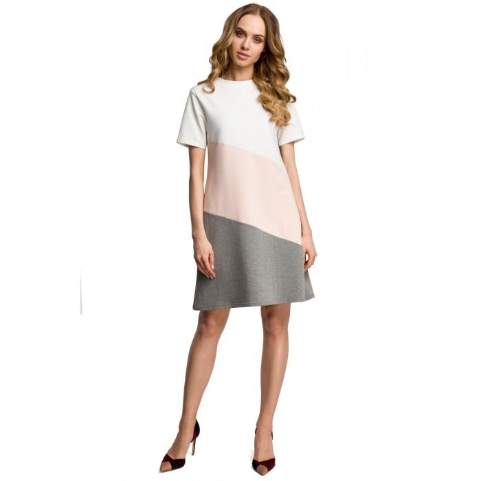 3761b6d8d91f Marhuľovo-šedé bavlnené šaty s krátkym rukávom v Alínii MOE373