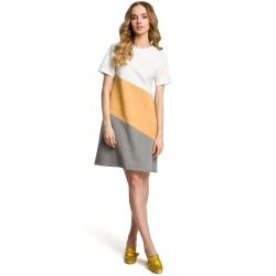 Žlto-šedé bavlnené šaty s krátkym rukávom v Alínii MOE373