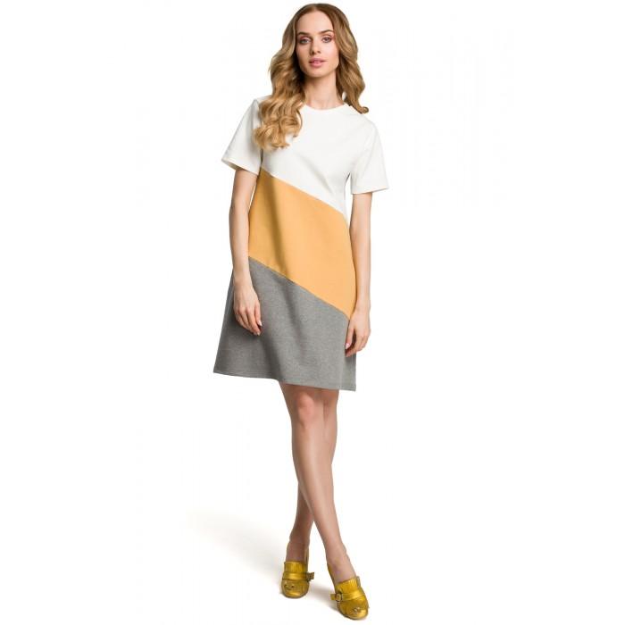 34024c410262 Žlto-šedé bavlnené šaty s krátkym rukávom v Alínii MOE373
