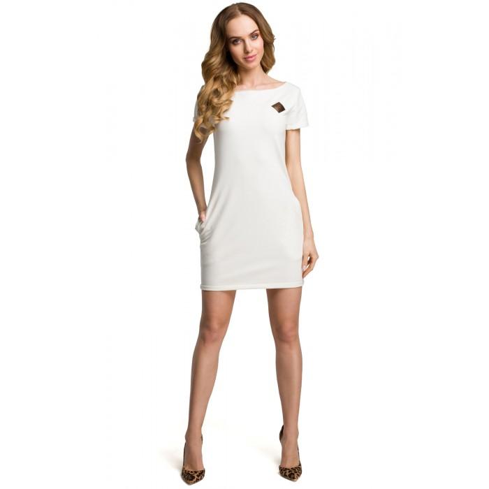 0b3164493dc3 Krémové bavlnené MINI šaty s bočnými vreckami MOE374