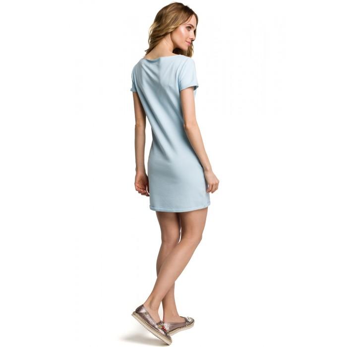 cc8955ca936a Svetlomodré bavlnené MINI šaty s bočnými vreckami MOE374