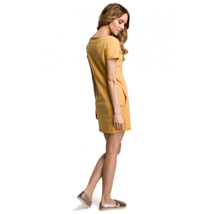 e62f863cb158 Žlté bavlnené MINI šaty s bočnými vreckami MOE374