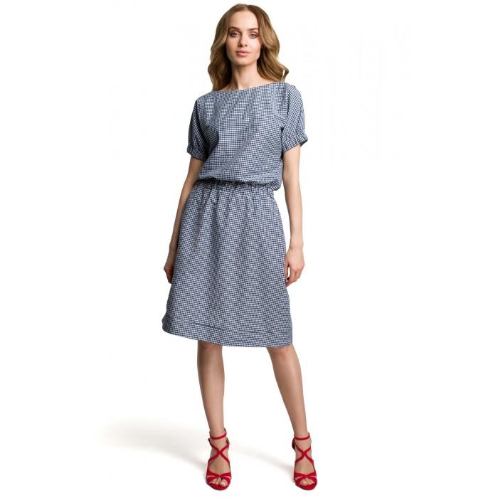 23c69d2aaa0d Tmavomodré kockované šaty v Alínii MOE376