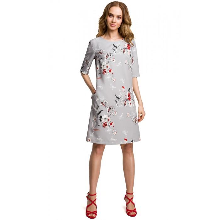 70d520331be1 Šedé šaty s kvetinovým vzorom v Alínii MOE379