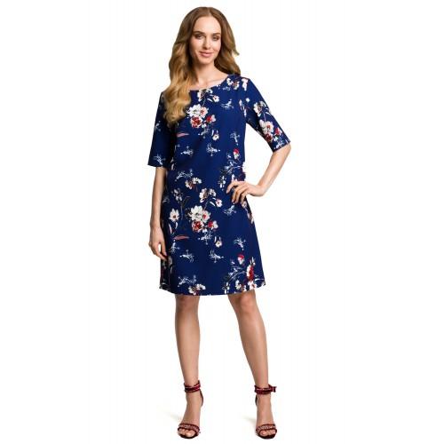 Tmavomodré šaty s kvetinovým vzorom v Alínii MOE379