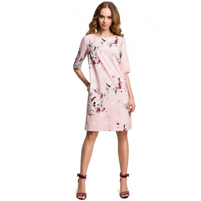 42e6b0bb56c1 Púdrovoružové šaty s kvetinovým vzorom v Alínii MOE379