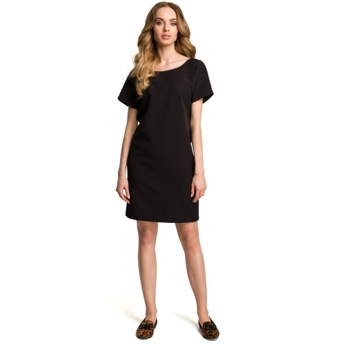 Čierne šaty s hlbokým zadným výstrihom MOE380