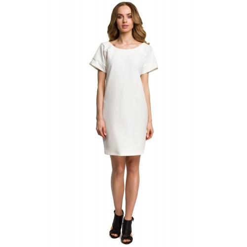 Smotanovobiele šaty s hlbokým zadným výstrihom MOE380
