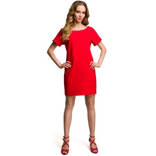 Červené šaty s hlbokým zadným výstrihom MOE380