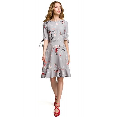Šedé letné šaty s kvetinovým vzorom MOE381