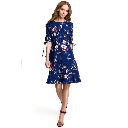 Tmavomodré letné šaty s kvetinovým vzorom MOE381