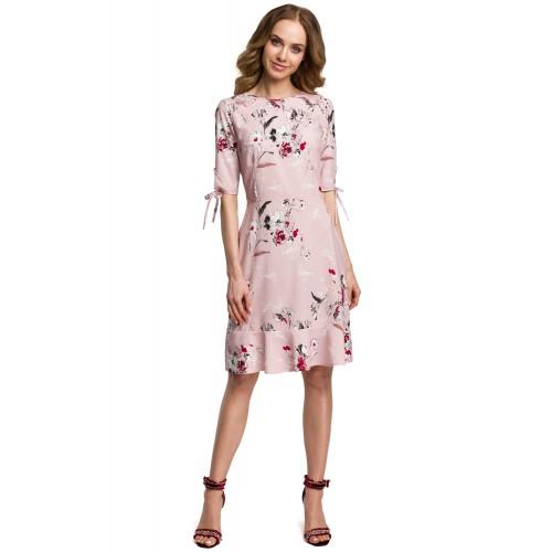 Púdrovoružové letné šaty s kvetinovým vzorom MOE381