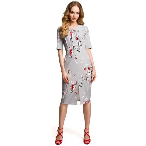 Šedé letné púzdrové šaty s kvetinovým vzorom MOE383