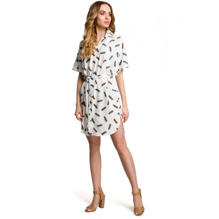de4d2d1176ff Biele ľahké kimonové šaty so vzorom vtáčích pier MOE385