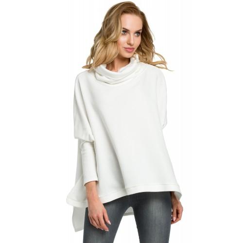 Biela asymetrická oversize bavlnená mikina MOE389