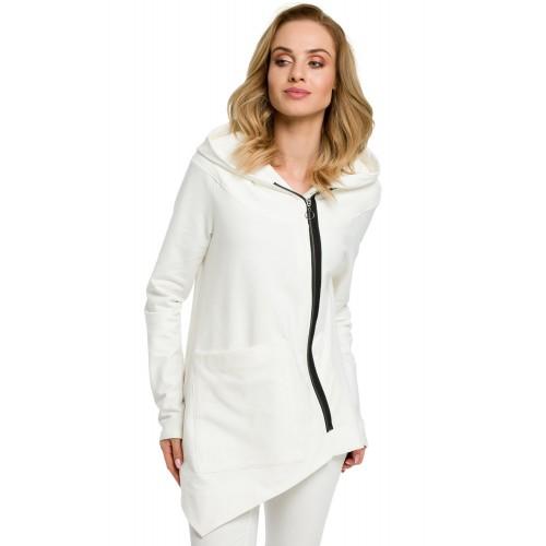 Biela asymetrická bavlnená mikina na zips s kapucňou MOE390