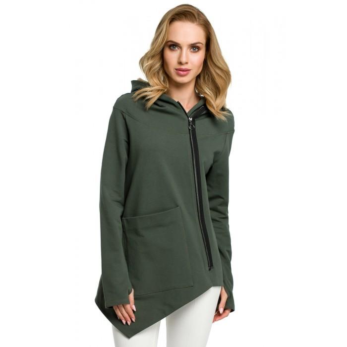 9c99462b1659 Vojensky zelená asymetrická bavlnená mikina na zips s kapucňou MOE390