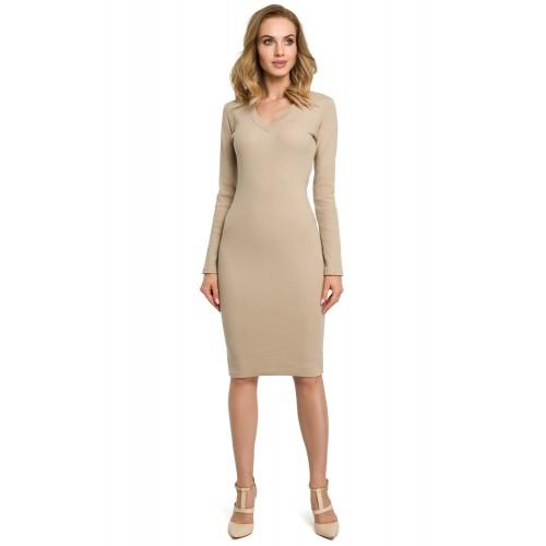 Béžové púzdrové úpletové šaty MOE393