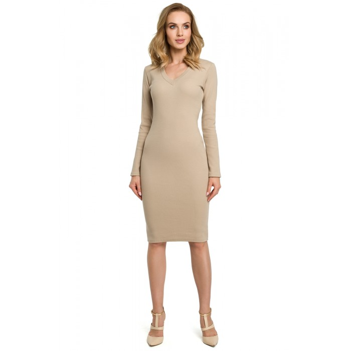 9c58a45823f7 Béžové púzdrové úpletové šaty MOE393
