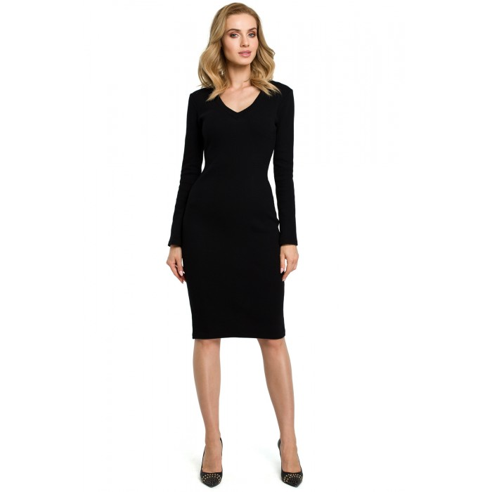 f90fc8bb6b57 Čierne púzdrové úpletové šaty MOE393