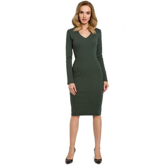 Vojensky zelené púzdrové úpletové šaty MOE393 3c0849d99bb