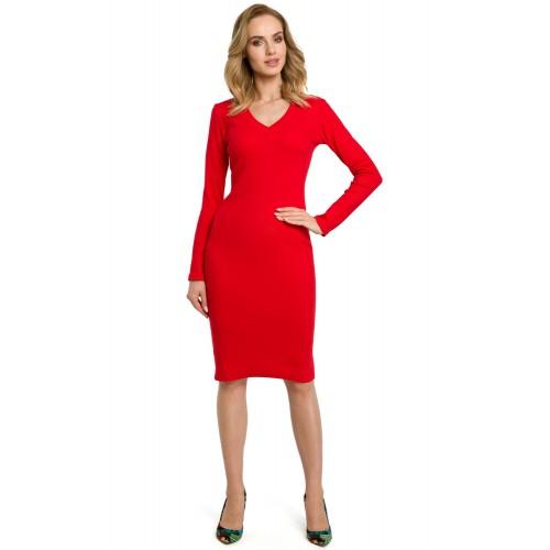 Červené púzdrové úpletové šaty MOE393