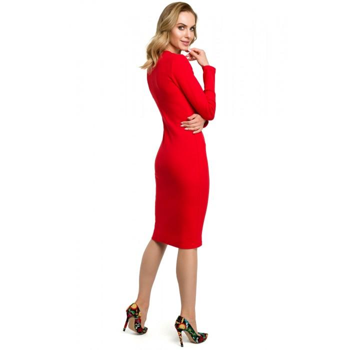 65de1678bd7a Červené púzdrové úpletové šaty MOE393
