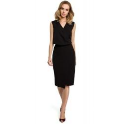 Čierna púzdrové šaty s prekríženým dekoltom MOE395