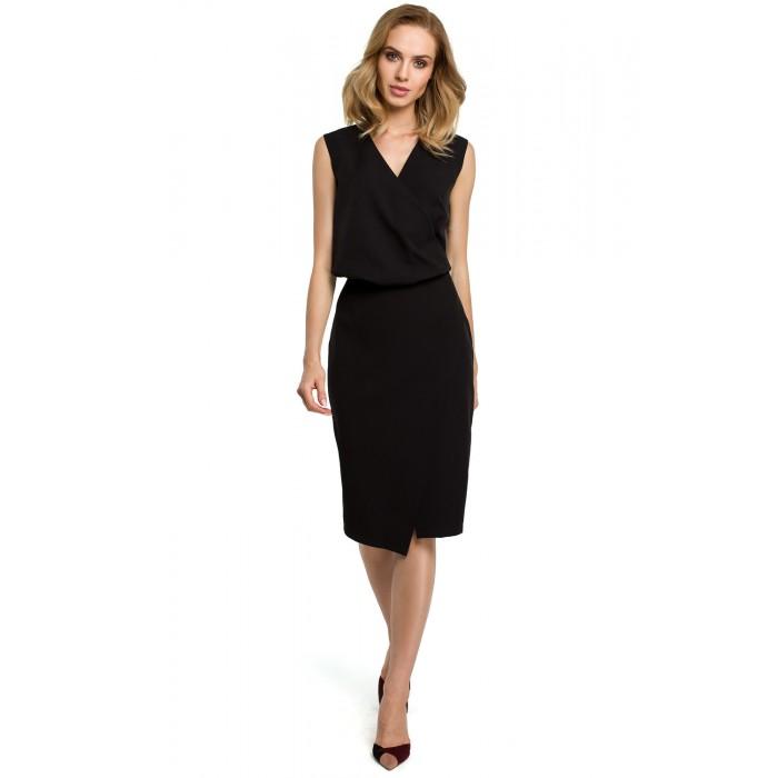 82732d9626a1 Čierna púzdrové šaty s prekríženým dekoltom MOE395